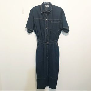 Vintage Blue Denim Wiggle Dress